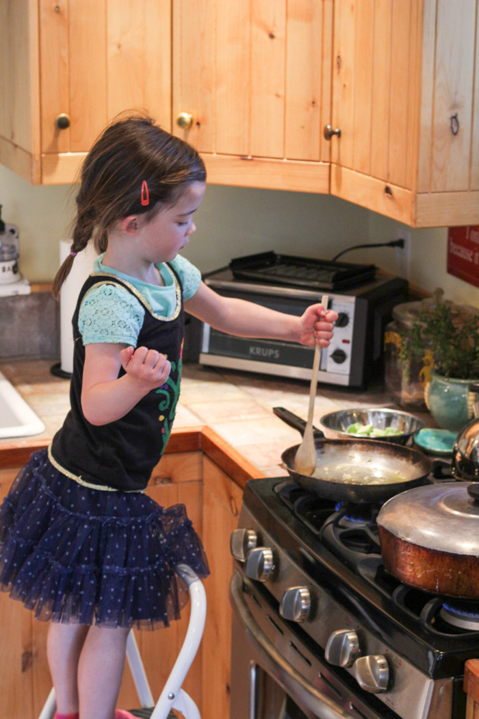 Why, yes. My sous-chef is dressed like Anna from Frozen.