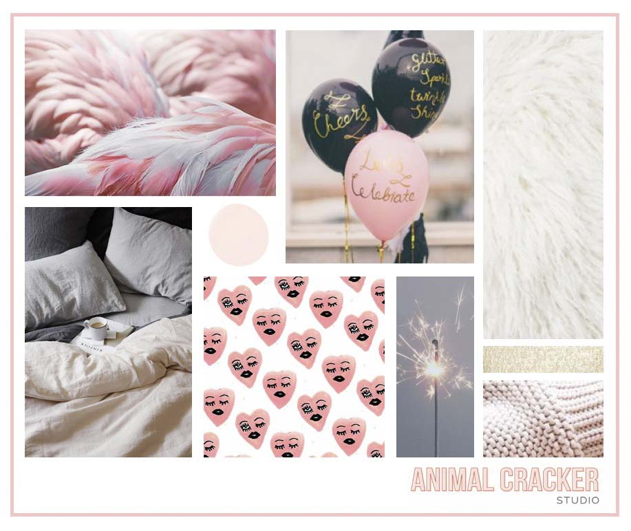 Image credits (clockwise from top left): feathers, balloons, fur, gold, knit, sparkle, hearts, cozy, blush.