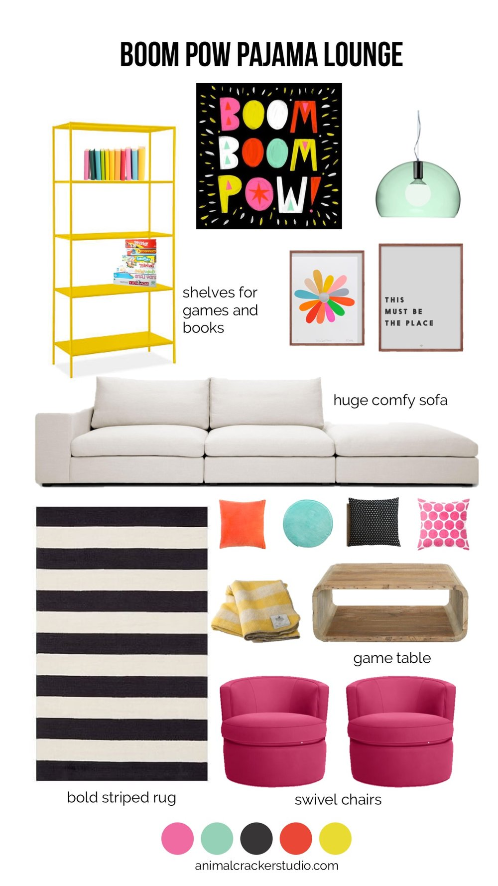 Boom boom pow inspiration image by  Allison Black Illustration . Product sources:  Shelf ,  light ,  flower print ,  place print ,  sofa ,  rug ,  coffee table , red pillow (not available),  black pillow , pink pillow (no longer available but still available in  mint  or  yellow ),  mint pillow ,  yellow blanket ,  swivel chairs  (shown in Sunbrella canvas pink). You can also check out items for this post  on my Pinterest board .