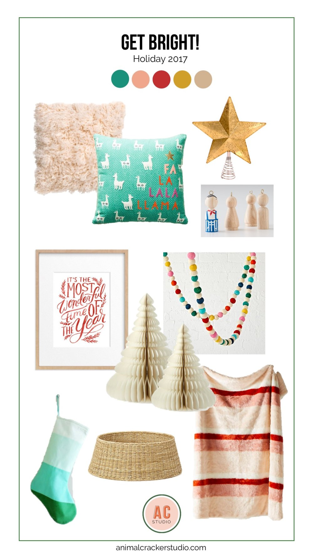 Sources (P.S. there are a couple of affiliate links here, just saying!):  Pink fuzzy pillow ,  llama pillow  (this says no longer available but check your local store because I just saw them last week),  star topper ,  DIY ornament kit ,  felt garland ,  fuzzy throw ,  basket tree collar ,  stocking ,  paper trees ,  wonderful print .