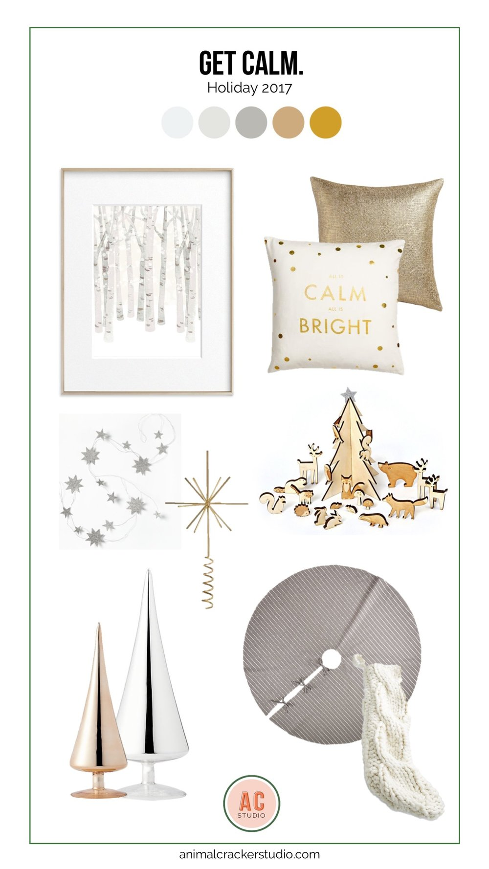 Sources (ditto the comment about affiliate links above): Woods print, calm and bright pillow, glitterati pillow, advent calendar, tree skirt, knit stocking, glass trees, tree topper, star garland.