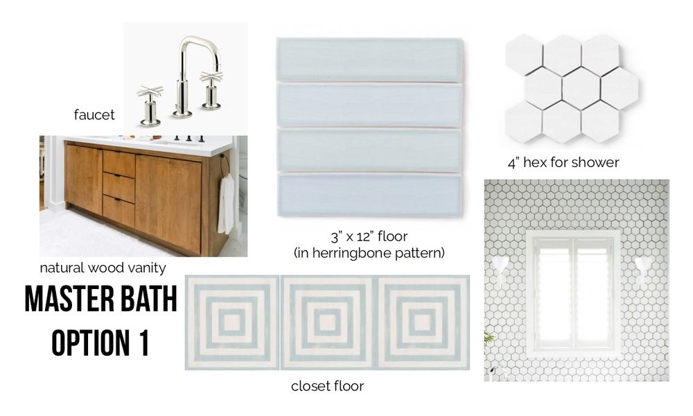 "Sources:  faucet ,  vanity (designed by Orlando Soria),  blue tile ,  4"" hex tile ,  closet floor ."