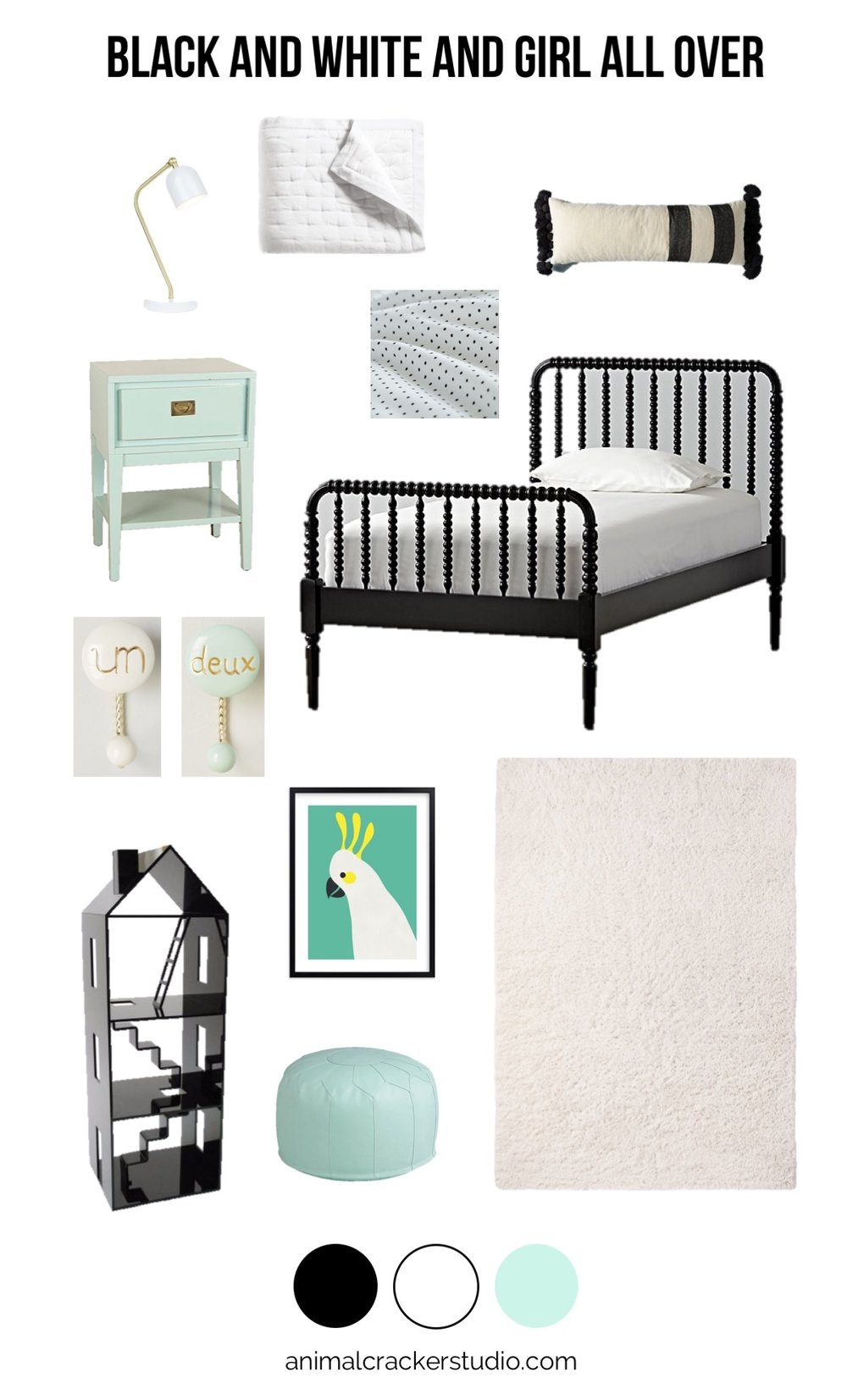 Sources:  lamp ,  white quilt ,  swiss dot sheets ,  pompom pillow ,  jenny lind bed ,  shag area rug ,  pouf ,  cocky art ,  dollhouse ,  un deux hooks ,  nightstand .