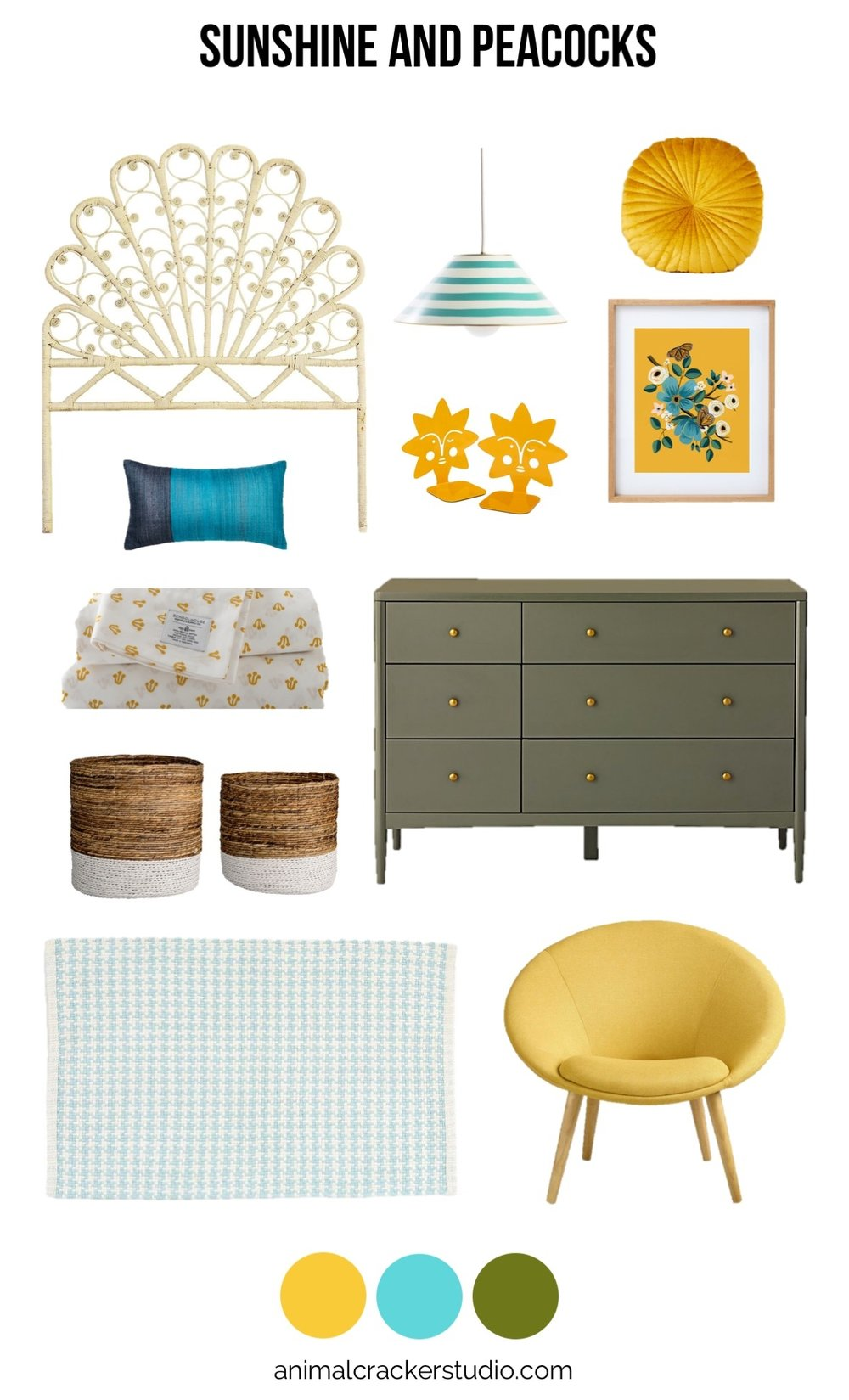 Sources:  headboard ,  pendant lamp ,  yellow pillow ,  monarch print ,  frame ,  bookends ,  dresser ,  chair ,  rug ,  baskets ,  sheets ,  silk throw pillow .