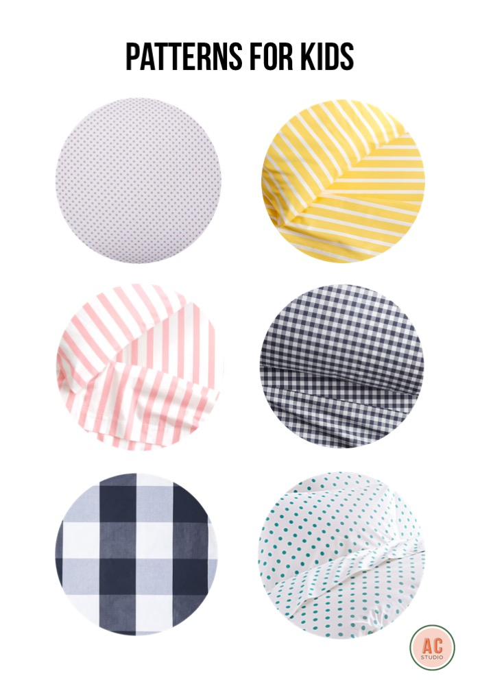 swiss dot  /  yellow stripe  /  gingham  /  dot to dot  /  buffalo check  /  pink stripe