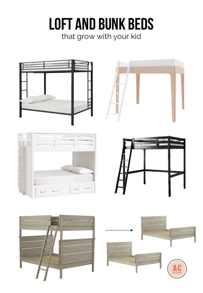 black metal full over bunkbed  /  perch full loft bed  (can place a twin bed or  shelving underneath  this one) /  simple wooden full loft bed  /  full over full convertible bunkbed  /  full over full bunkbed with storage