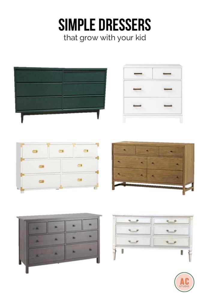 vintage green 6-drawer dresser  /  4-drawer basic dresser  /  7-drawer natural dresser  /  vintage customizable dresser  /  8-drawer dresser  /  classic campaign dresser
