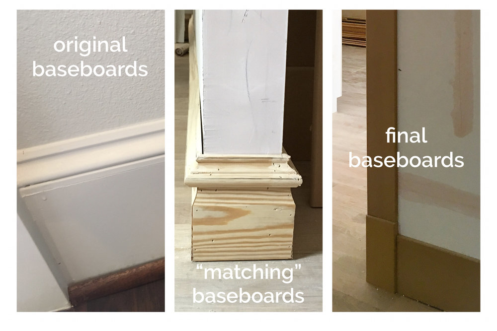 Third time was the charm on baseboards. Trim carpenter's first attempt at matching to original baseboards not shown. We finally decided to just simplify.