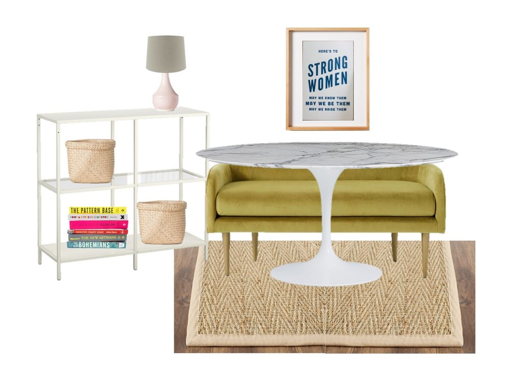 bookshelf  /  lamp  /  lamp shade  /  baskets  /  strong women  /  frame  (this one doesn't actually fit the print - it's just for show) /  tulip table  (or  the more budget friendly version  you see everywhere) /  bench  /  jute rug  /