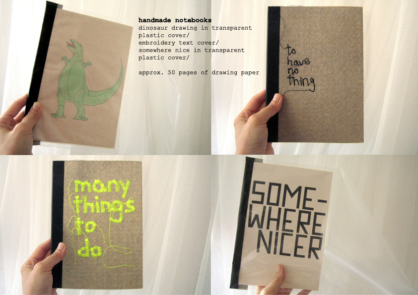 Handmade notebooks with embroidery texts on the cover.