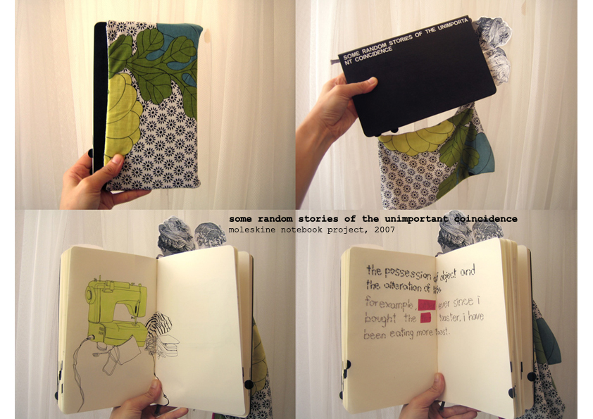 Commissioned project for Moleskine notebook. A fabric sleeve has been added onto it.