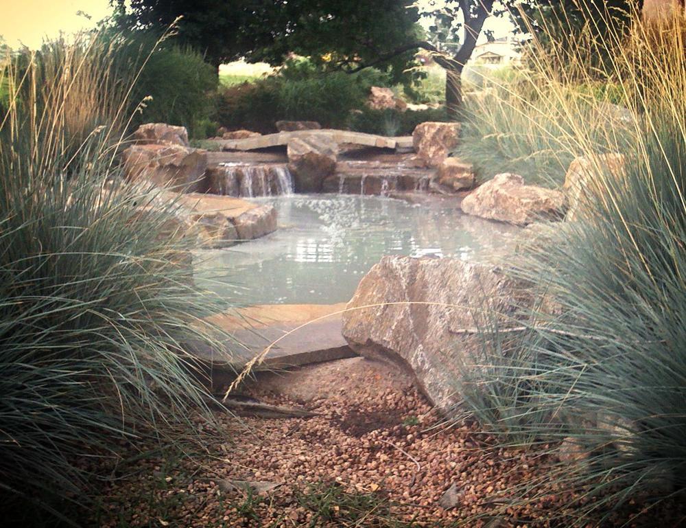 Pond, Fountain & Bridge.