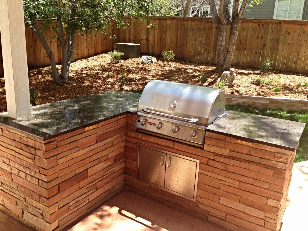 Red Stripstone-Granite Counter BBQ