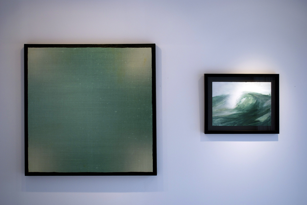 left: Eric Freeman, Untitled, 2012, 36 x 36 inches right: Darius Yektai, Untitled Wave Series, 2012, 12 x 16 inches