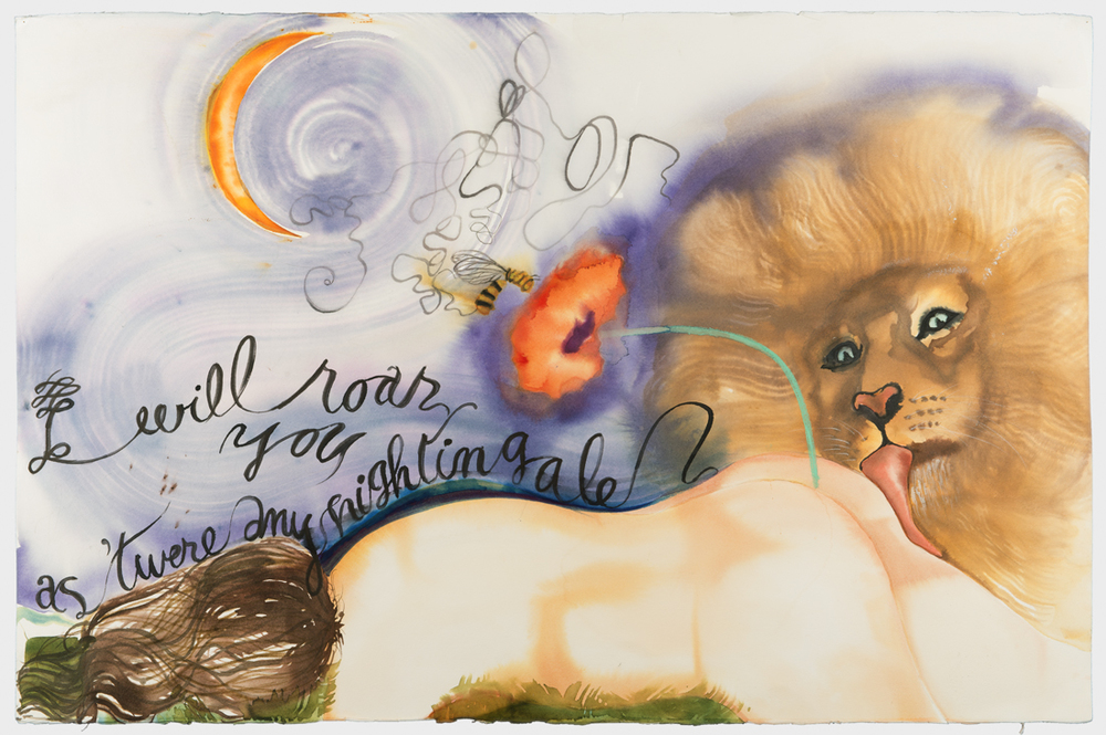 Judith Hudson, A Midsummer Night's Dream Series: 'I will roar you as 'twere any nightingale,' 2013, watercolor on handmade paper, 26 x 40 inches. Courtesy of Tripoli Gallery.