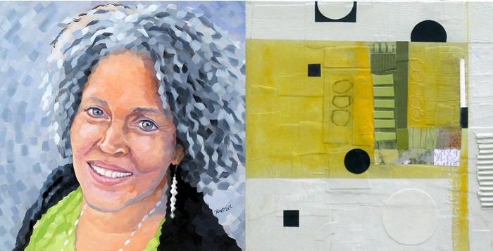Left: a painting of Charlayne Hunter-Gault by Glenn Tunstull. Right: An abstract by Deborah Colter. http://www.theniceniche.com/this-week/deborah-t-colter-artist