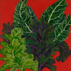 Kale, oil on board 18 x 18""