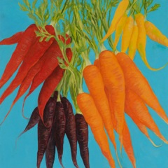 Carrots, oil on board, 18 x 18""