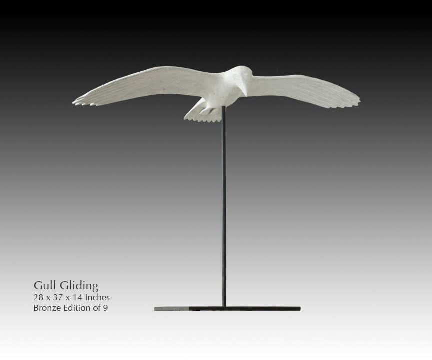 "ROBERT HOOKE, ""GULL CLIMBING"". 22 x 34 x 14 inches. Bronze Edition of 9"
