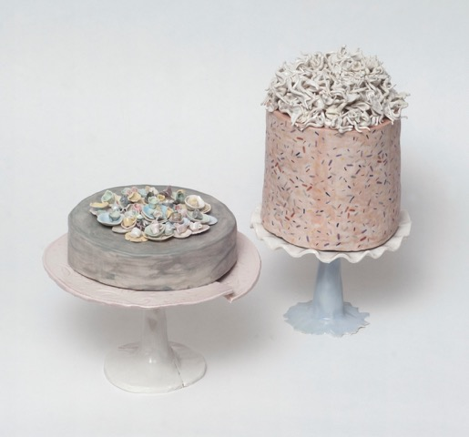 "Monica Banks, Anthem, porcelain, 6 1/2"" x 7 1/2"" x 7 1/4"", Hymn, porcelain, 10 1/16"" x 5 3/4"" x 5 1/2"""