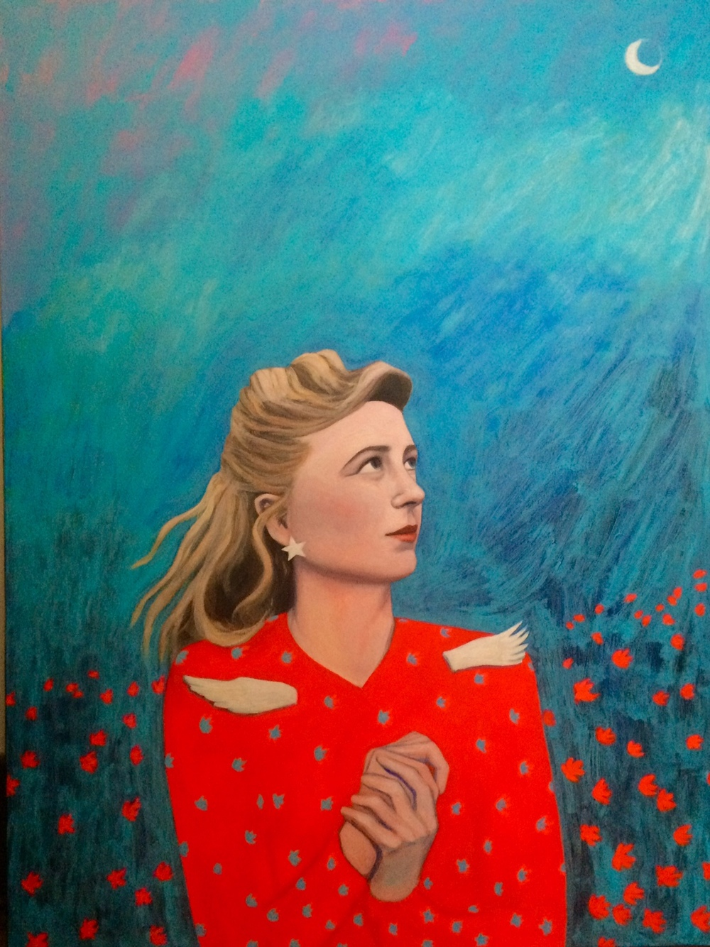 Margaret Wise Brown, acrylic and watercolor on canvas, 30 x 40, 2016