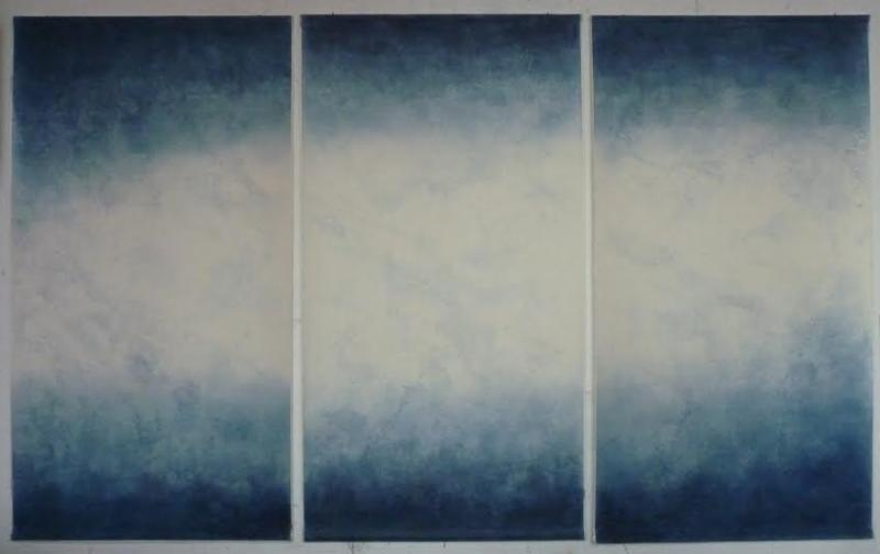 "Claire Illouz, Dear Leviathan, 60""h x 72"", indigo dye print and drawing on silk"