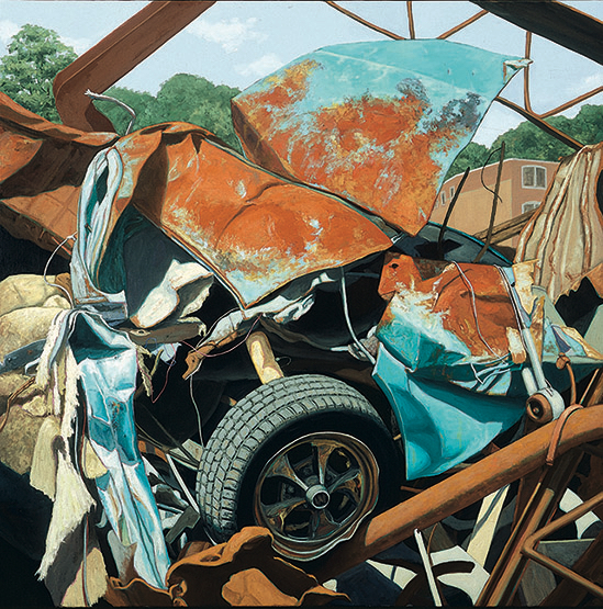 "Car, oil/linen, 40"" x 40"" by Valeri Larko"