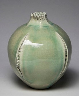"Bulb form green – Ann Mallory, ""Bulb Form #30"". High-fired ceramic."