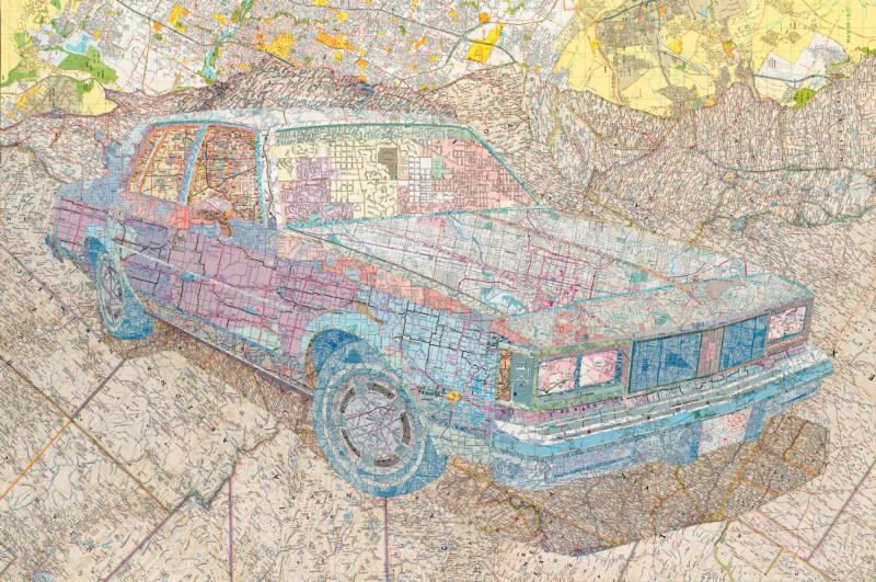 MATTHEW CUSICK, Olds '84, 2014, inlaid maps on wood panel, 30 x 45 inches, Courtesy of Holly Johnson Gallery