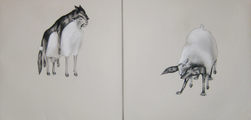 Decoy  diptych, 2010  Charcoal on stretched paper  30x60""