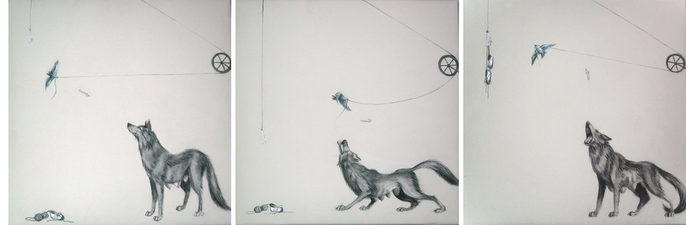 Triptych (Up, Up, and Away)  , 2005  Charcoal and ink on stretched paper  12x36""