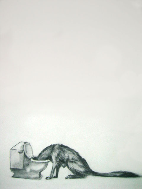 Untitled, (Vomit),  2005  Charcoal on paper  12x16""