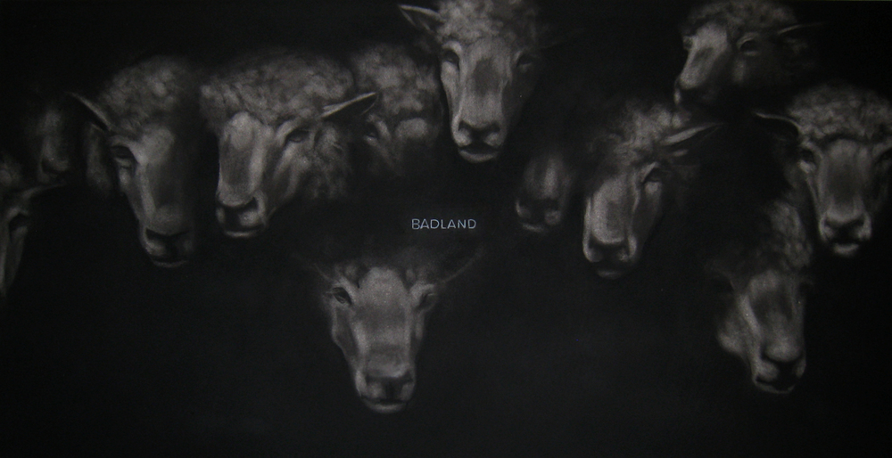 BADLAND,  2014  Charcoal on stretched paper  24x48""