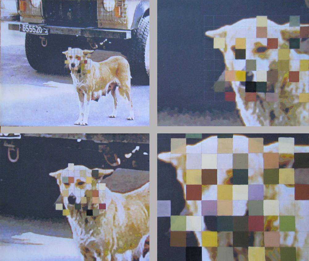 """Pixels, 2014  Gouache on inkjet print  20x30"""""""