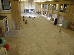 The marble lobby of the former Colorado National Bank building in the process of restoration.