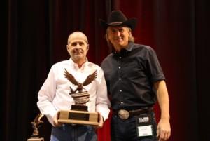 Bob Adwar with Jim Shockey receiving the Veterans Award at the SCI Convention in Las Vegas, at Mandalay Bay.
