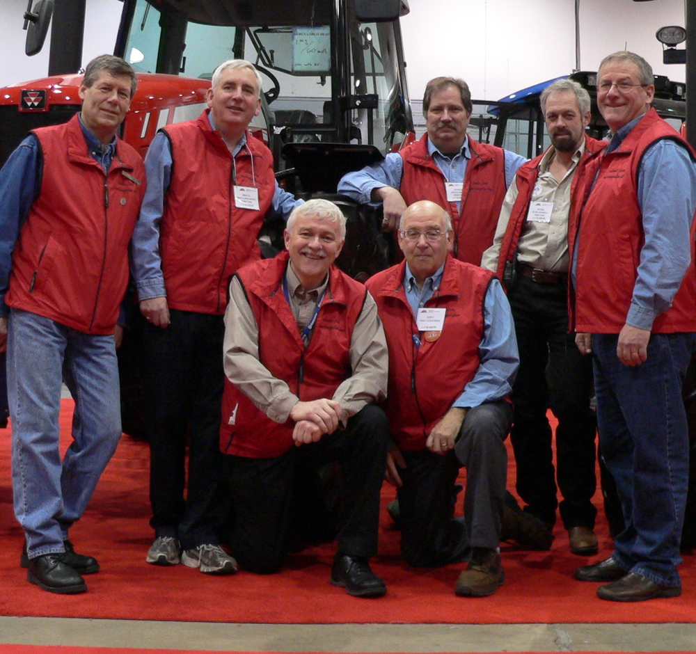 ALL VOLUNTEERS, A 2009 PHOTO OF FARM SHOW DIRECTORS – BACK ROW LEFT TO RIGHT, CHUCK EVERETT, BROCK PROUDFOOT, ARNOLD BEYERS, PETER SWINKELS, AND DAVE FRANCIS. FRONT ROW, LEFT TO RIGHT, BRIAN BEATON, CHAIRPERSON, AND TONY GLENCROSS, PAST DIRECTOR.