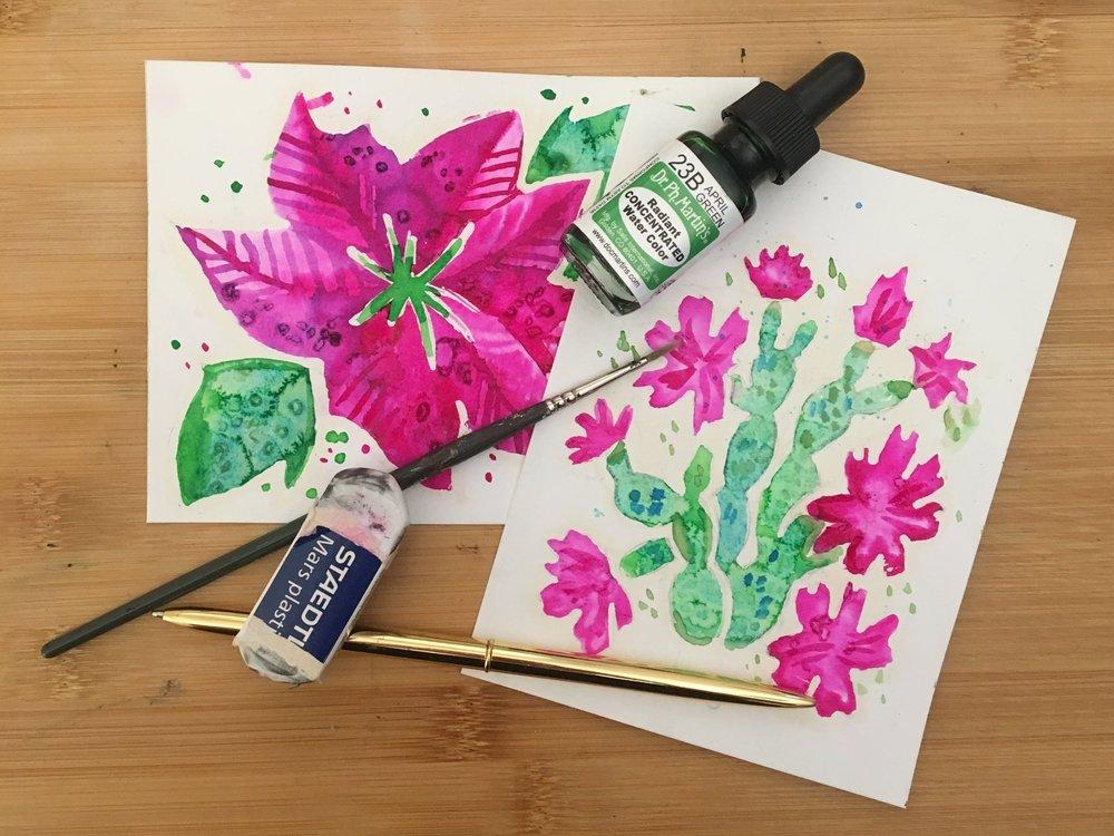 pointsetta_cactus_watercolour