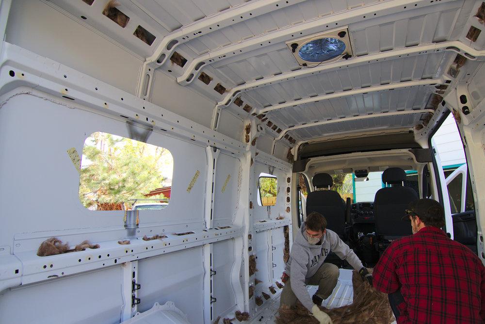 Installing high grade insulation.