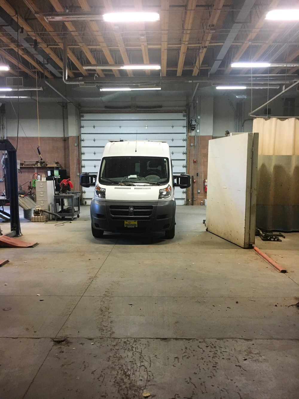 The van in our shop before getting started.