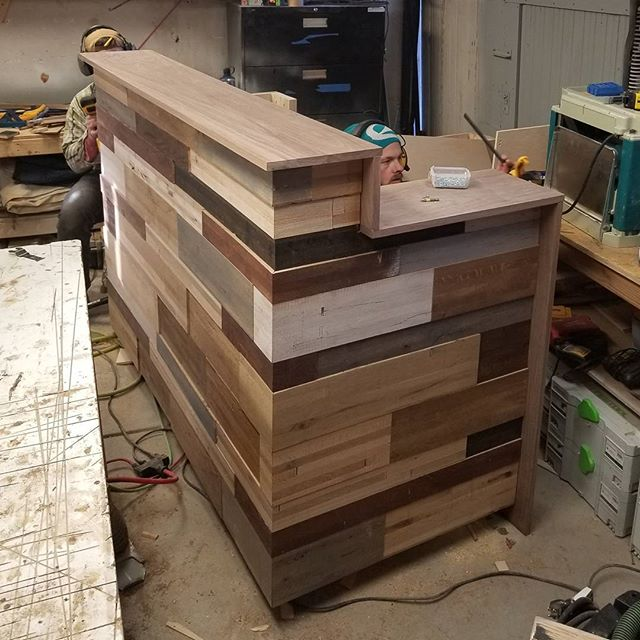 The newest custom desk coming out of the @rossmonsterdesign workshop.  Contact us if you have a particular piece in mind that you'd like our team to work on in 2018!  #customwoodworking