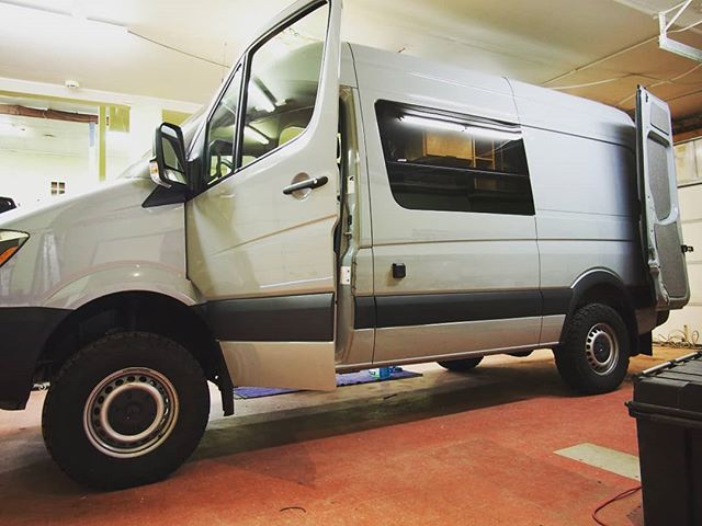 Been an absolute blast cranking this beast of a Sprinter 4x4 out for @reliefbackwards. More photos of this model to come.  Average build time heading into April is 4 weeks and filling up fast, contact vans@rossmonsterdesign.com to get the conversation started for your build today!  #rossmonstervans