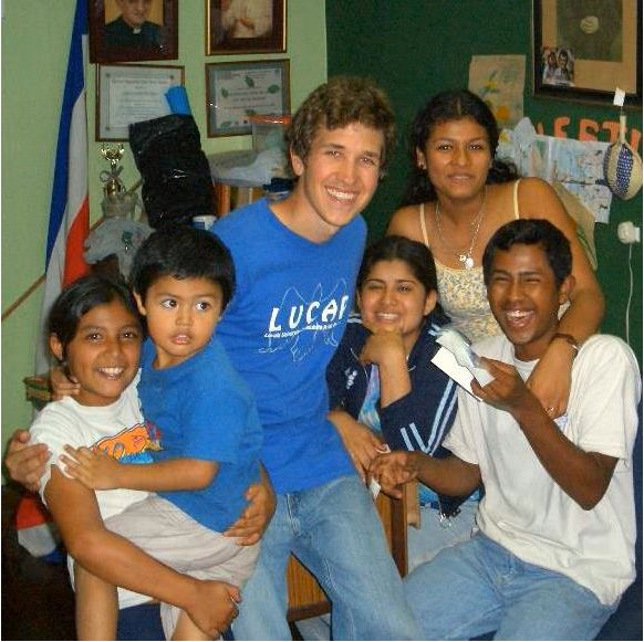 Wesley, center in blue, with friends in Costa Rica, 2006.