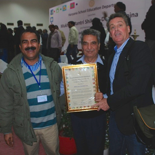 From left to right: Pramod Kumar, Directorate of Elementary Education, Haryana; Suraj Kumar; Glenn Fawcett.