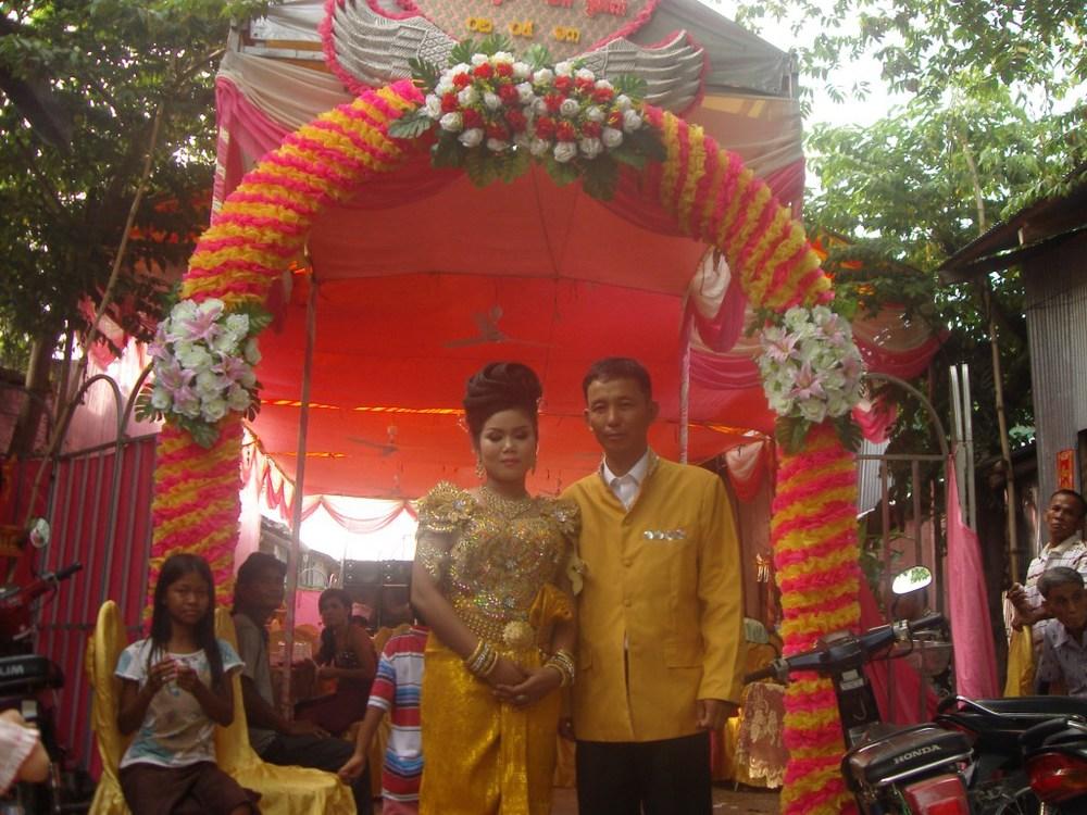 Srey-Pov and husband on their wedding day