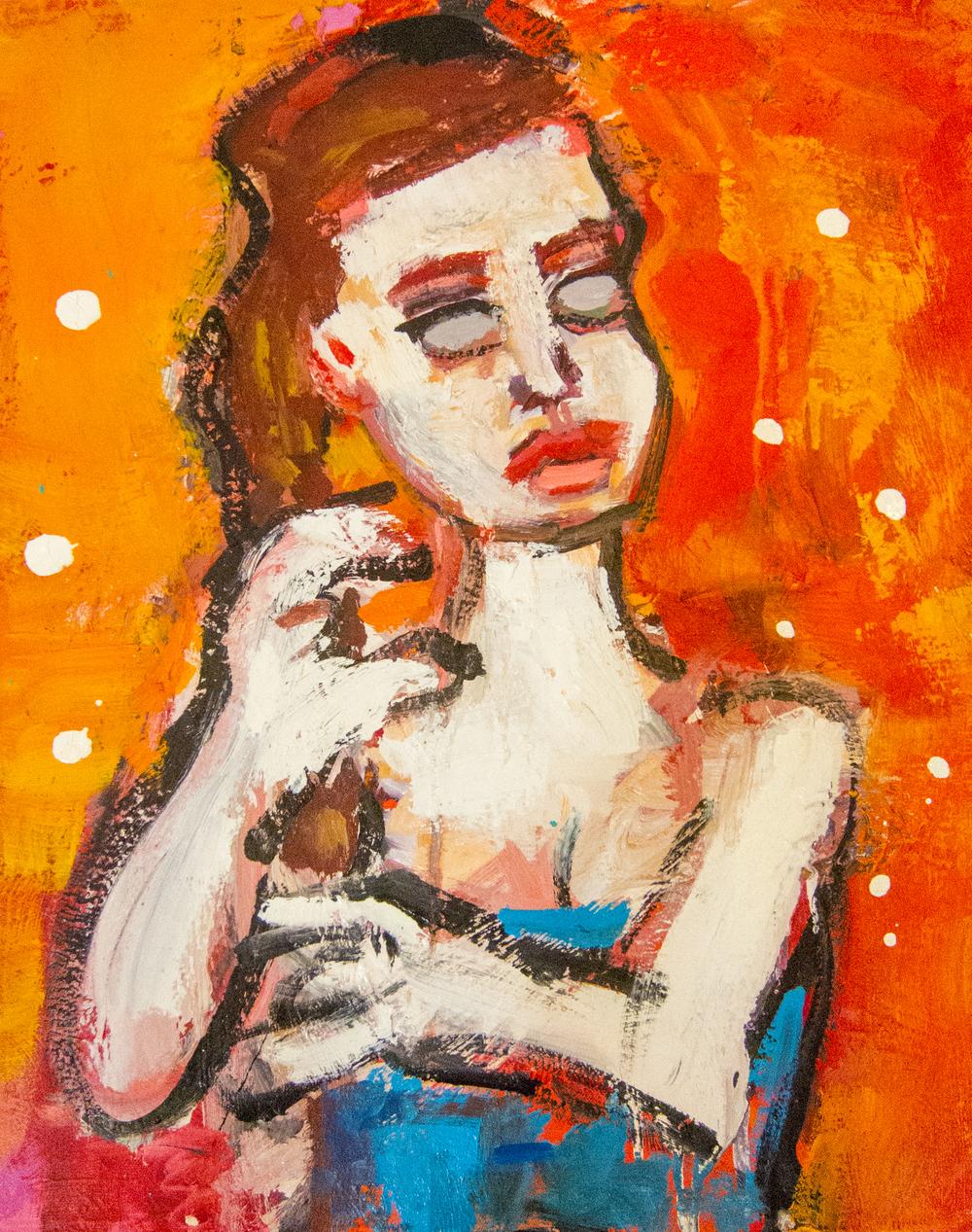 Woman With Orange Background by Greg Kessler