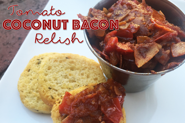 Coconut Bacon Relish on Rosemary Crostini
