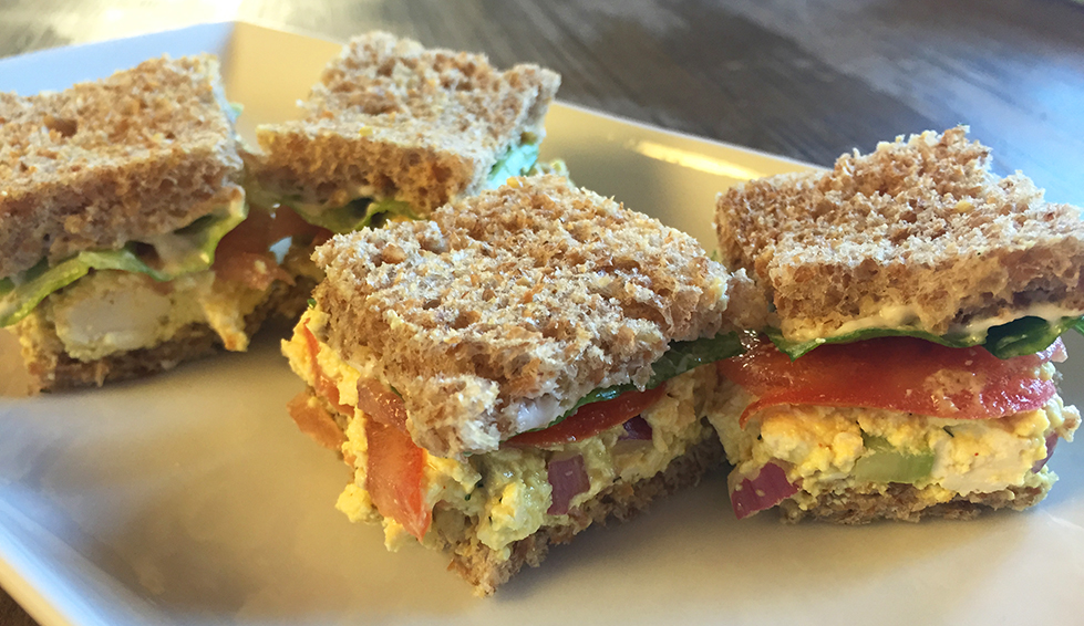 Perfect finger food for an Eggless Easter party: mini tofu egg salad sandwich sliders.