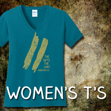 Womens t shirts, hobocode, hobo code, woman with a gun,