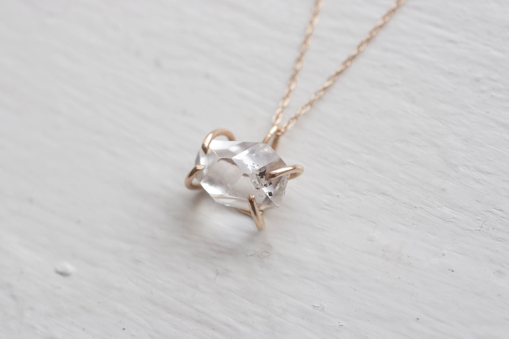 Herkimer diamond solitaire solid 14k recycled gold necklace mineralogy herkimer diamond solitaire solid 14k recycled gold necklace aloadofball Gallery